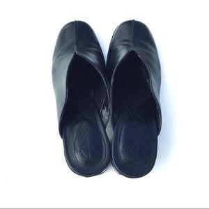Clarks Shoes - Clark's Women mules black leather heels clogs 7.5